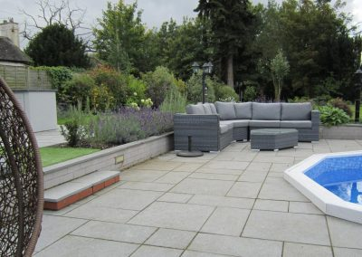 Sunken seating area and pool