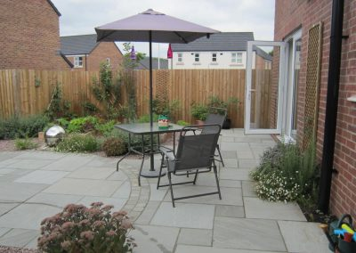 sandstone paved seating area